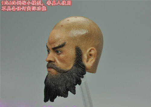 "1//6 Scale Ancient Asian Monk Head Sculpt For 12/"" Male Action"