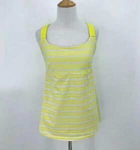 Lululemon Track and Train Tank Top Women's Size 8 Yellow Stripe Shelf Bra Active