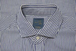 Barba Dandy Life The Vintage Shirt White Blue Striped Cotton Spread Shirt 15 3/4