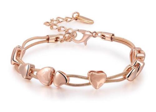 Rose oro plateado corazón Pulsera Brazalete Muy Elegante Para Mujer