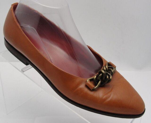 ELLEN TRACY BROWN LEATHER FLATS POINTY TOE Casual Slip On Horsebit Shoe Sz 8