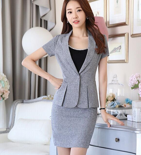 Elegante Dimensioneur Dimensioneur Dimensioneur completo donna grigio perlato giacca manica corta e gonna 7134 3fb204