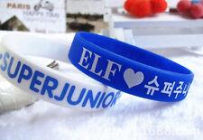 FASHION SUPER JUNIOR Support wristband Wrist strap Bracelet X2 White&Blue EF