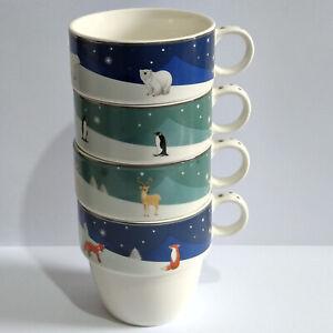 Aynsley China Winter Animals Stacking Mugs - Set of 4 Mugs - No Box.