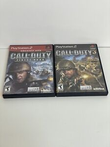 Call-of-Duty-1-amp-3-Bundle-Lot-Finest-Hour-PS2-Black-Label