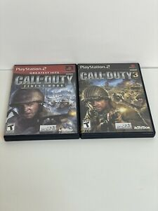 Call of Duty 1 & 3 Bundle Lot Finest Hour PS2 Black Label