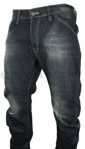 Mens-Twisted-Washed-Blue-Jeans-Casual-Low-Crotch-Rise