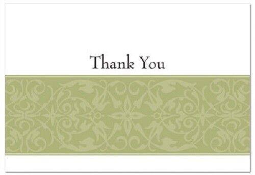 Sage Green Swirl Wedding Thank You Notes 50//pk