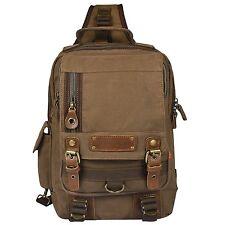 Vbiger Men's Canvas Backpack Sling bag Chest Pack for Travelling Coffee