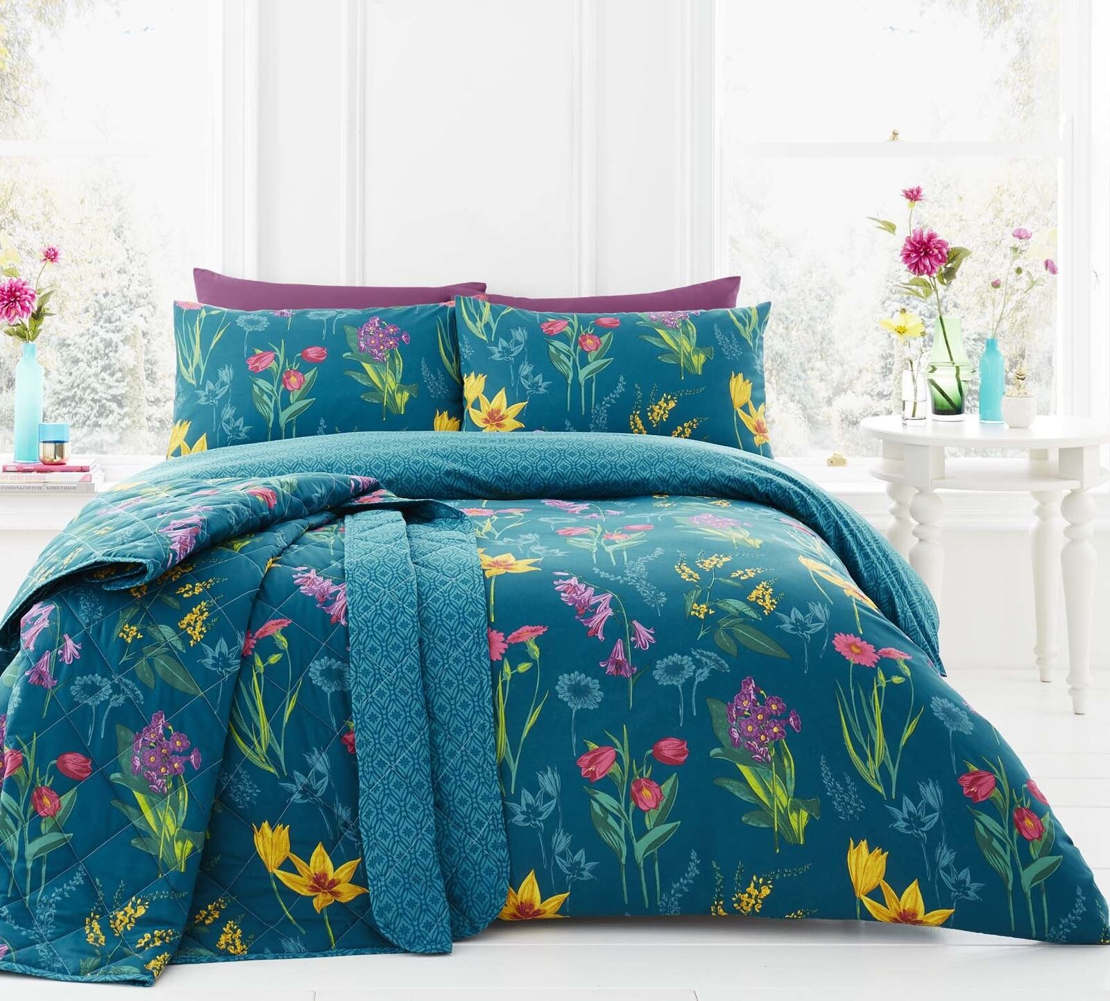WILD FLOWERS FLORAL GEOMETRIC TEAL DOUBLE 4 PIECE BEDDING SET