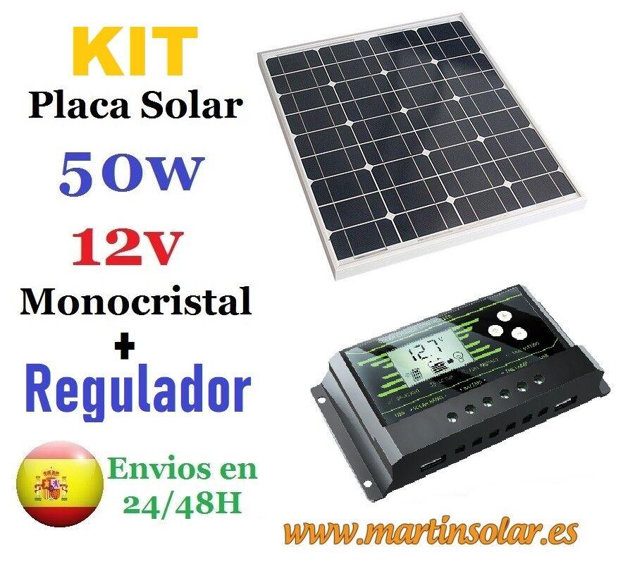 Kit placa panel Solar 50w 12v 12v 12v monocristal + regulador 10ah. acd0cc