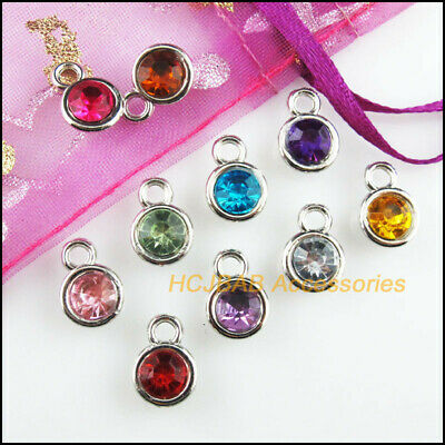 10pcs Silver Plated Purple Acrylic Crystal Round Pendants Charms DIY Jewelry