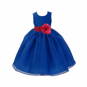 fb8adfd7039d Wedding Organza Royal Blue Flower Girl Dress Pageant Graduation ...