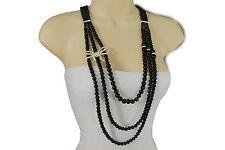 Women Black Imitation Pearl Beads Long Fashion Necklace Big Silver Bow Pendant