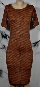 LULAROE-Brown-Blue-Orange-Patterned-Julia-Dress-XS-Short-Sleeves-Form-Fitting