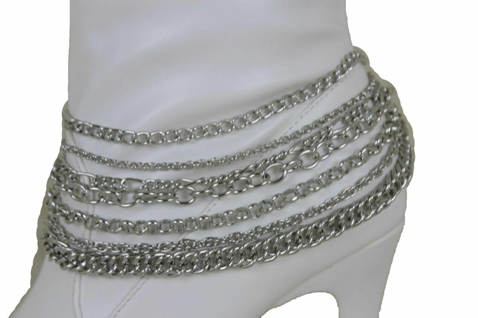 Women Silver Color Boot Bracelet Anklet Chain Links Western Shoe Strands Charm