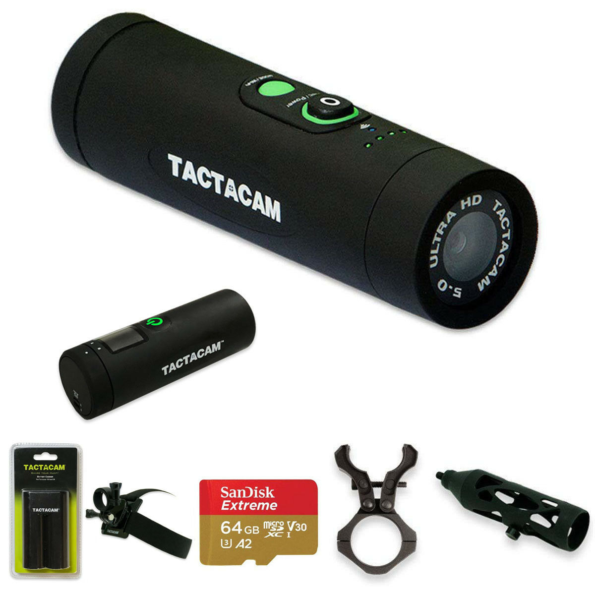 Tactacam 5.0 Bow Hunting Action Camera + 64GB Card + Remote + 2 Mounts & Charger