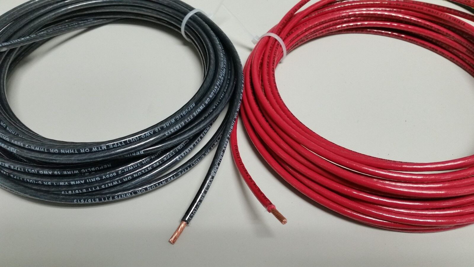 20/' EA THHN THWN 6 AWG GAUGE BLACK WHITE RED COPPER WIRE 20/' 10 AWG GREEN