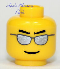 NEW Lego Male Police Agent MINIFIG HEAD - FBI Silver Sun Glasses Boy Smile Black