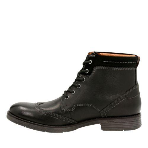 Clarks Men/'s Devington Hi Chukka Black Smooth Leather Boots 26119654