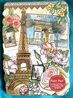 Punch Studio Embellished Die Cut Note Pad - Pink Rose Eiffel Tower 56360