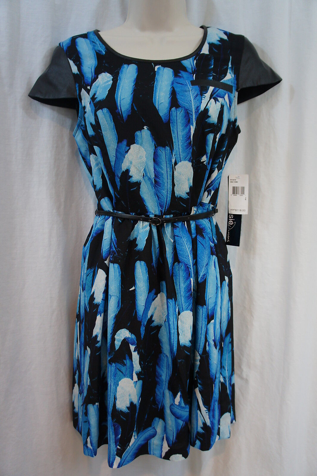 Kensie Dress Sz 6 Blau schwarz Cobalt Belted Feather Print Cap Sleeve Dress