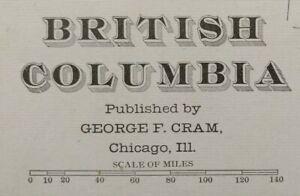 Vintage-1903-BRITISH-COLUMBIA-CANADA-Map-22-034-x14-034-Old-Antique-REVELSTOKE