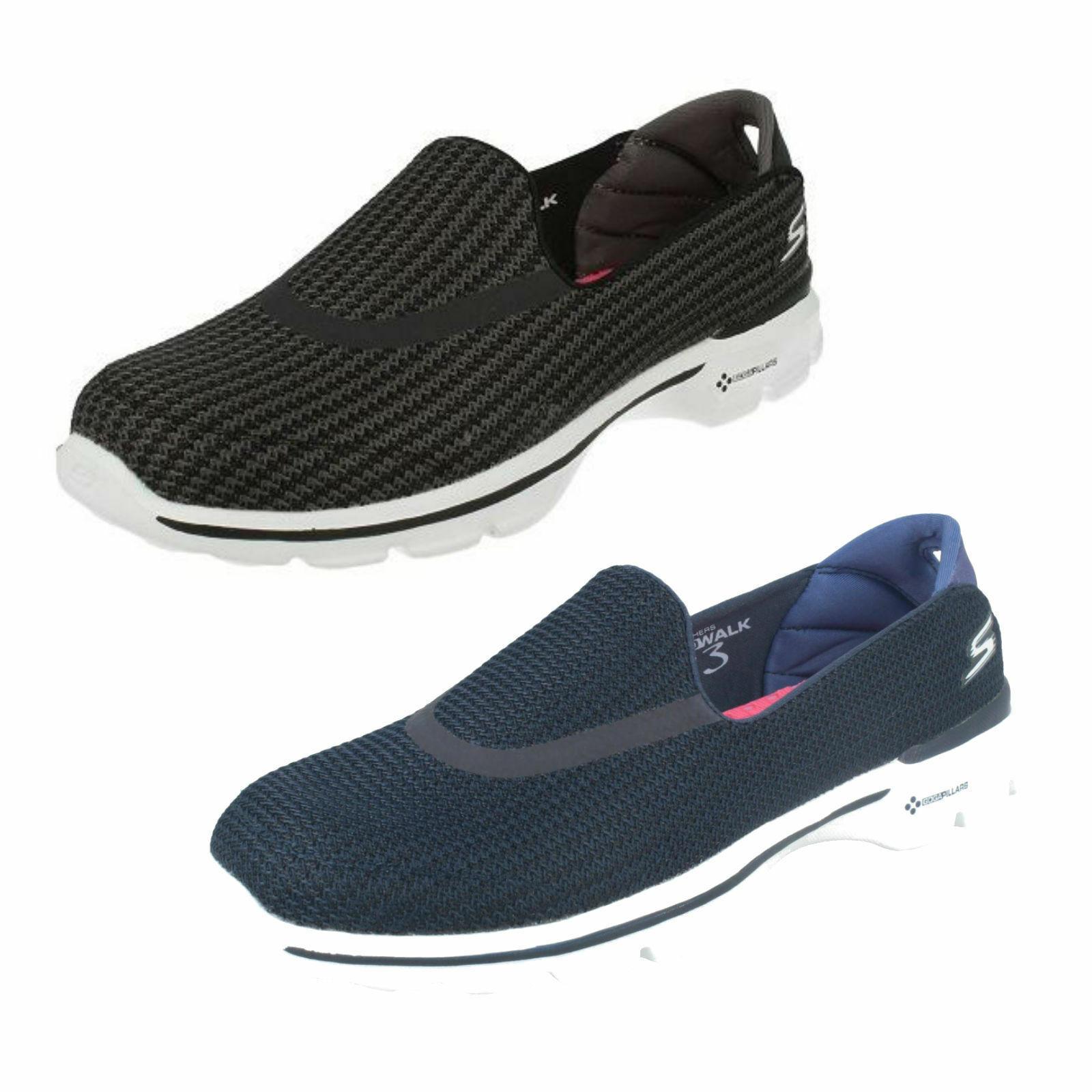 Femmes Skechers Go Walk 3 13980 à Enfiler Léger Casual Sports Baskets Chaussures