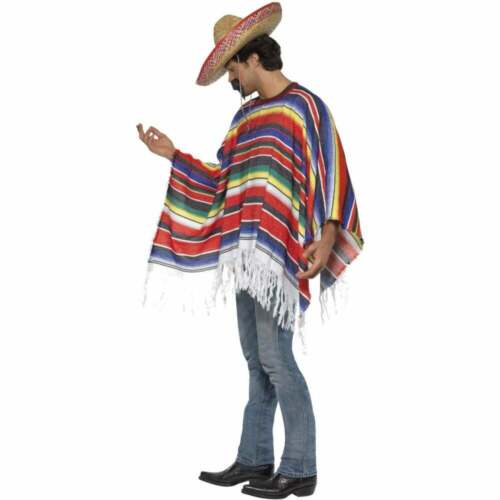 TASH Mexican Bandit Western Stag Men One Size Fancy Dress Costume Adult PONCHO