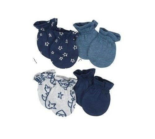 Gerber Baby Boy 4-Pack Organic Cotton Navy Rocket//Stars Mittens Size 0-3M