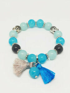 Bracelet-Bijoux-femme-Fantaisie-Bleu-Turquoise-Pompon-Perle-Bouddha-NEUF-ref-4