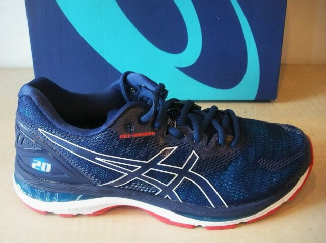 ASICS MENS GEL NIMBUS 20 RUNNING SNEAKERS SHOES T850N 400 BLUE PRINTRACE BLUE