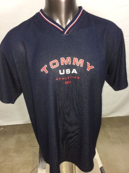 69f3151d Men's Vintage Tommy Hilfiger Athletics Blue Mesh Shirt Spell Out Size XL