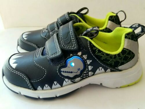 New BOYS CLARKS DINOSAUR THEME LEATHER CASUAL LIGHTS TRAINERS SHOES UK 7-12.5