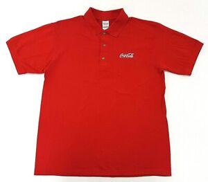 Coca-Cola-Logo-Red-Polo-Work-Shirt-Size-M-Mens