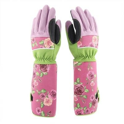Long Sleeve Leather Rose Gardening Gloves Women Thorn Proof Hand Pruning Trim