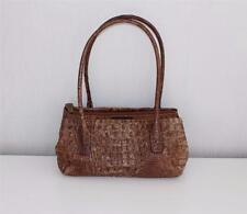 Brown Leather Croc Print TOSCA BLU Small Hand Bag Shoulder Bag Satchel Bag