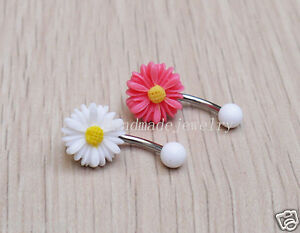 ae1d24823779f 2pcs flower belly button rings belly ring belly button piercing ...