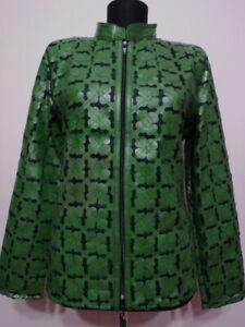 Green Plus Size Leather Coat for Woman Jacket Women Zipper Short Collar Zip D6