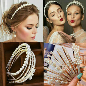 Women-039-s-Pearl-Headband-Hair-Clips-Bride-Tiara-Hair-Band-Wedding-Headwear