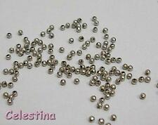 400 x 2mm Silver Tone Round Spacer Beads - Smooth Metal Ball Beads - IRON - SP99