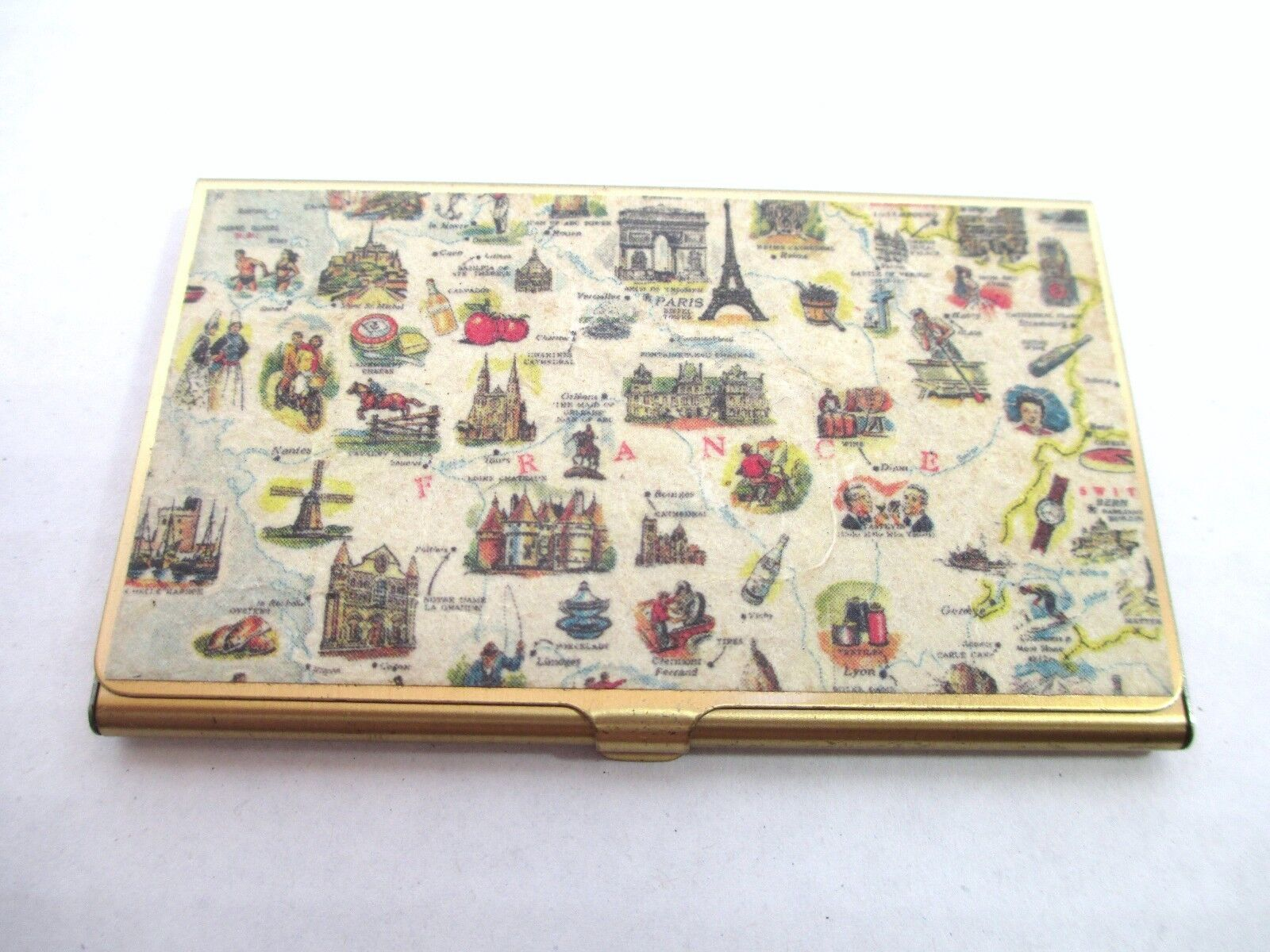 Unusual vintage french france business card or credit card holder unusual vintage french france business card or credit card holder map 1 reheart Gallery
