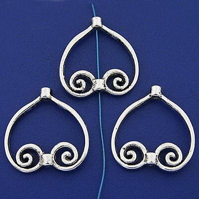 10pcs tibetan silver color heart shaped frame charms h3301