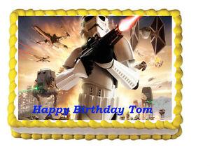 Star War Edible Birthday Cake Topper 1//4 or 1//2 sheet Frosting