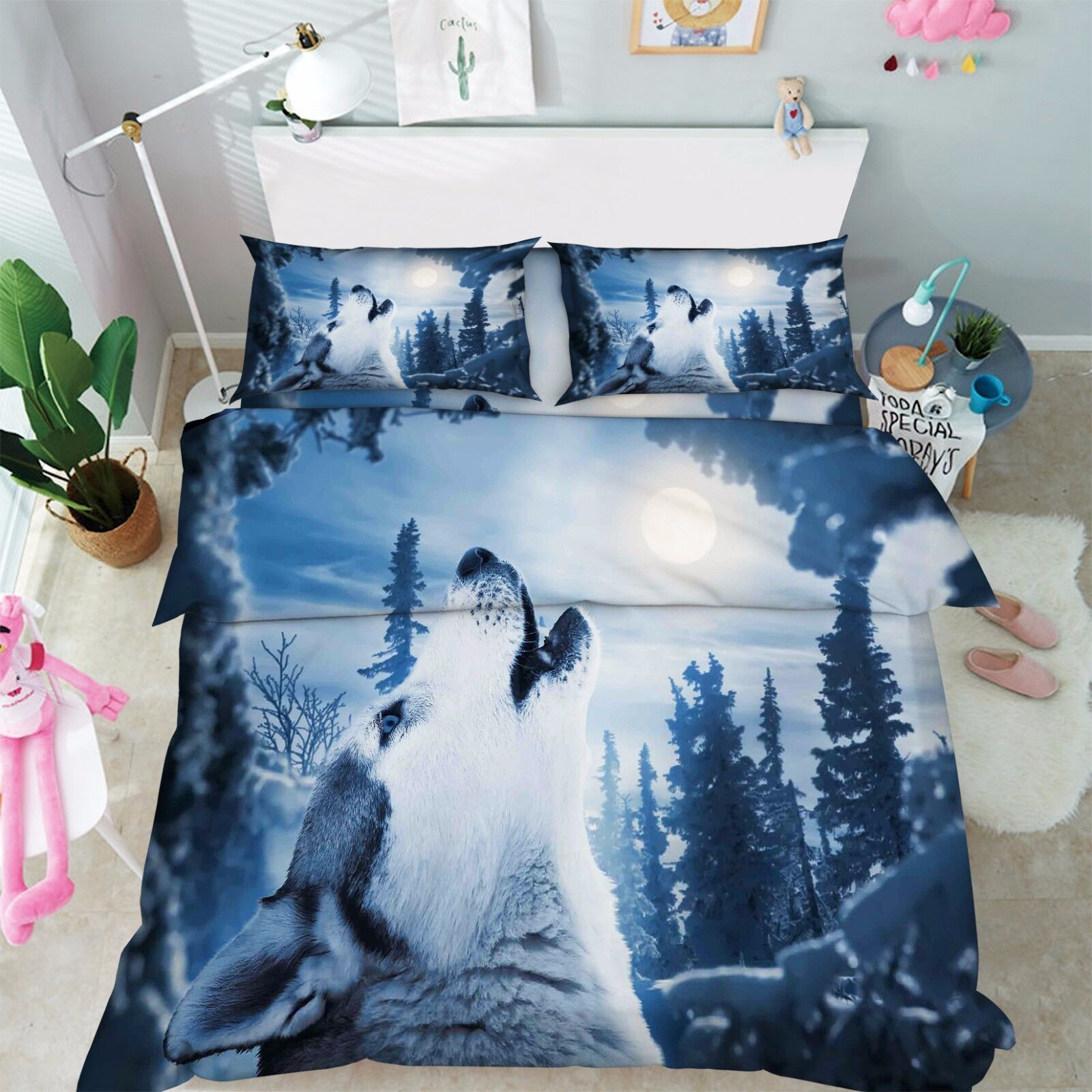 3D Wolf Animal 876 Bed Pillowcases Quilt Duvet Cover Set Single Queen UK Kyra
