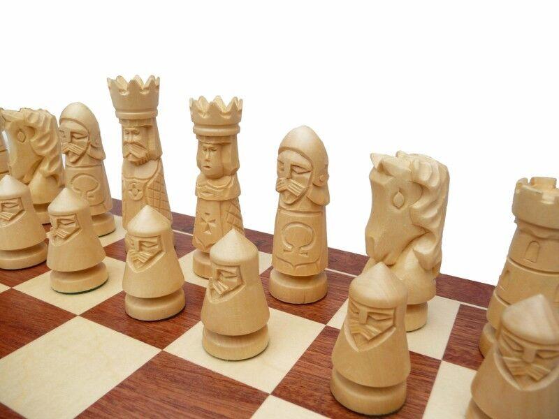 Edles großes Schach Schach Schach Schachspiel HANDGESCHNITZT GESCHNITZT intarsie Holz  NEU ef42e8