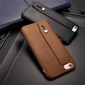 finest selection 7ecf4 6a840 Details about PU Leather Phone Holder Stand Case Ring Belt Hand Strap For  iPhone 7 8 Plus X
