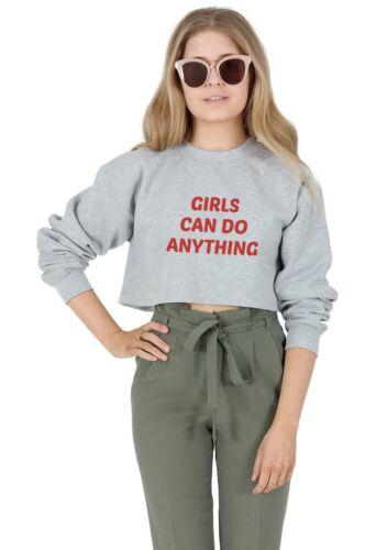Le ragazze possono fare qualsiasi cosa Crop Sweater Maglione Top Ritagliata femminista FEMMINISMO GRL PWR