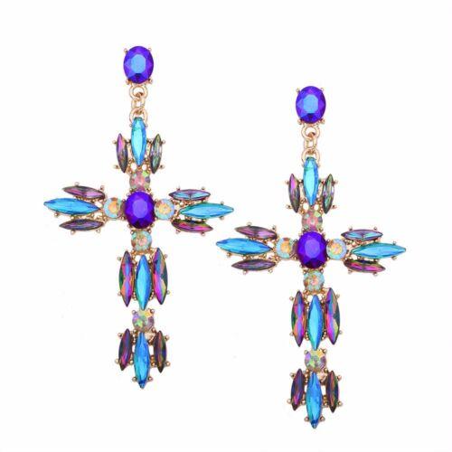 Aretes De Mujer Nueva Moda Cristal Estrás Cruz patrón aleación de tipo empuje hacia atrás