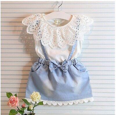 Summr Baby Girls lace demin dress strap bow Cutwork Princess Girls dresses 2-7Ys